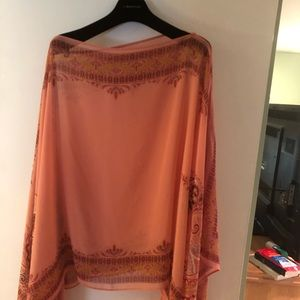 Sheer salmon colored with pattern top